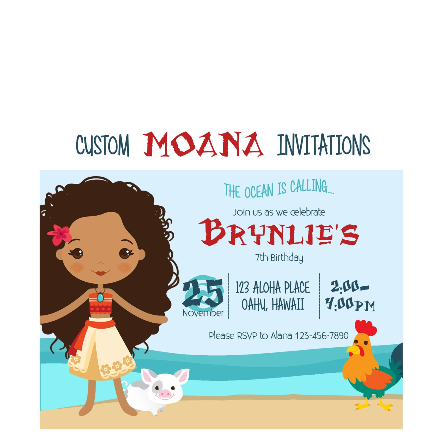 Moana Birthday Invitation Custom Hawaiian Princess Party 5x7
