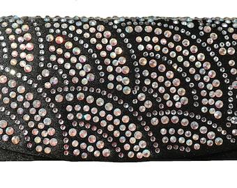 New Black With Iridescent Swirl Crystal Rhinestone Design  - Clutch Evening Handbag