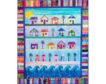 Beach Cottages Quilt paper piecing quilt patterns, beach quilt patterns, house quilt pattern, beach decor, instant download