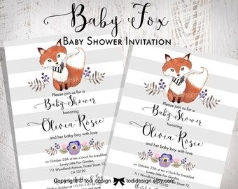 Baby  Fox Baby Shower Party Invitation - Little Fox- Baby Boy invitation Printable digital file