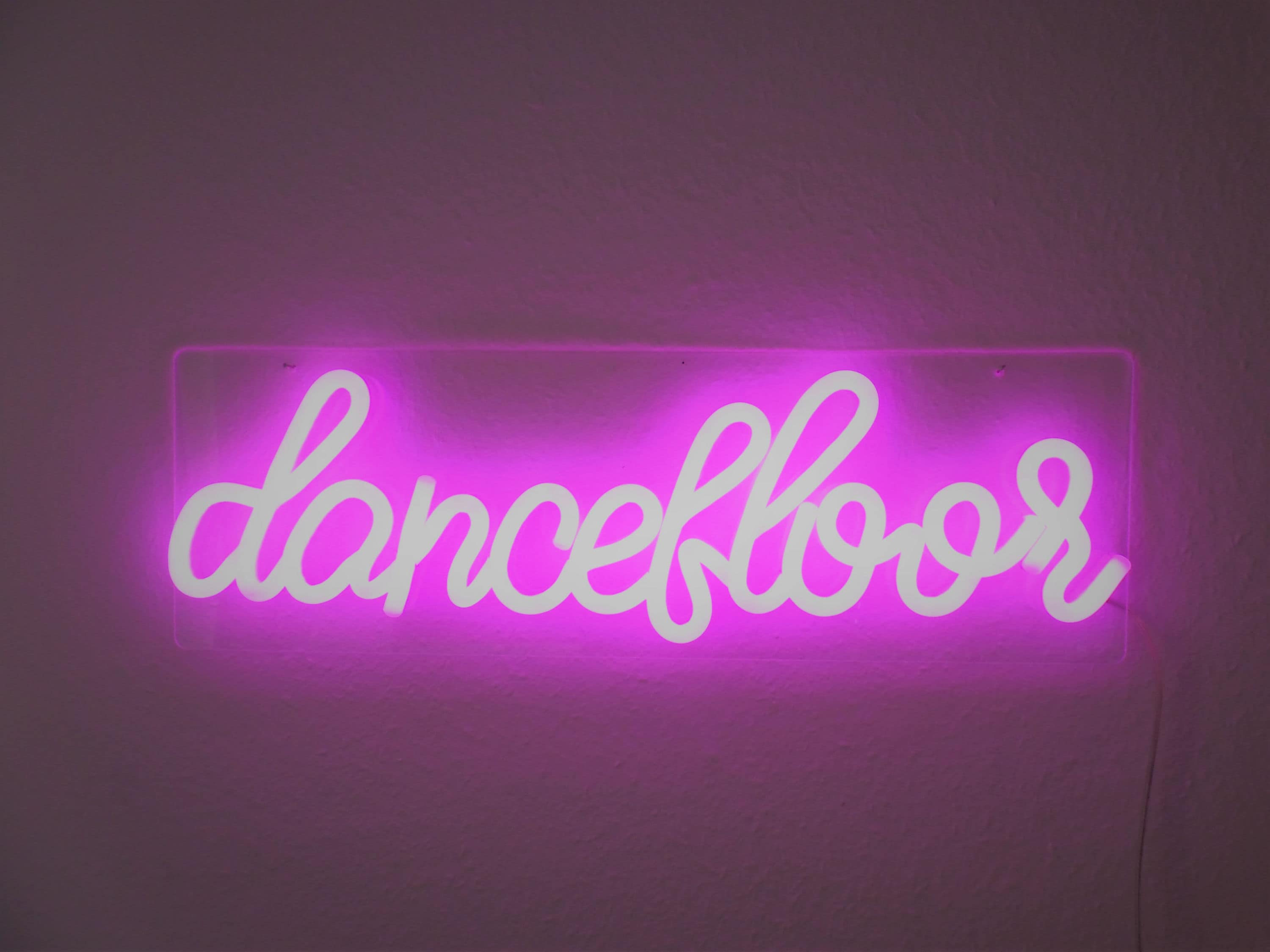 LED neon sign dancefloor pink