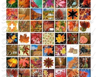 Autumn Foliage - 3 sizes - Inchies, 7-8 inch, AND scrabble tile size .75 x .83 inch - Digital Collage Sheet - INSTANT DOWNLOAD