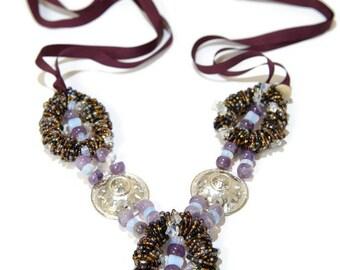 Purple Statement Necklace, Amethyst Statement Necklace, Purple and Silver Ribbon Necklace, Purple Necklace