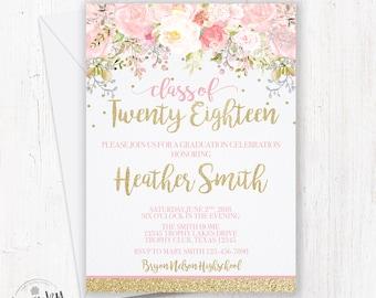 Graduation Invitation, Floral Graduation Invitation, High School Graduation Invite, College Graduation Invitation, Pink and Gold Glitter
