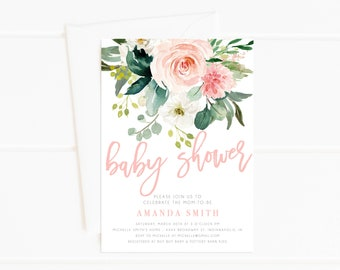 Baby Shower Invitation Girl, Watercolor Floral Baby Shower, Pink, Shower Invitation, Printable Invite (3008)