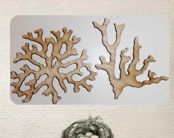 Coral Wood Cut Out - 2 Piece Set - Laser Cut.