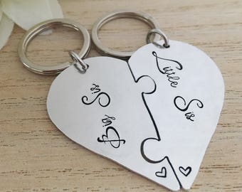Big Sister Keyring - Twin Sister Gift - Little Sister Keychain - Personalized Christmas Sister - Heart Keyring - Hand Stamped Jigsaw Keyring