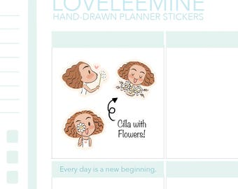 Cilla with Flowers, Dandelion, Daisy, Lily Planner Stickers