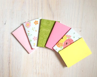 Notebooks: 6 Tiny Journal Set, Pink, Floral, Wedding, Favors, Small Notebooks, For Her, For Him, Gift, Unique, Mini Journals, Party, T024