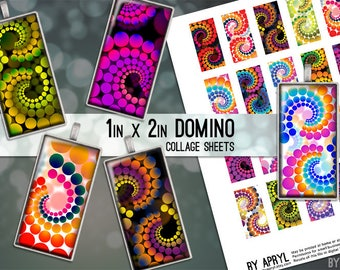 Psychedelic Retro Dots 1x2 Domino Collage Sheet Digital Images for Glass and Resin Pendants Scrapbook Magnets JPG D0001