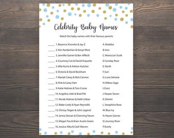 Blue Gold Baby shower games, Celebrity baby name game, Baby shower games, Boy baby shower, Printable baby shower, Celebrity baby names, S005