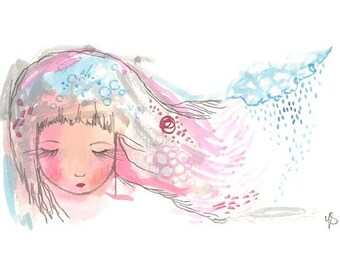 Print girl painting illustration storm pink and blue