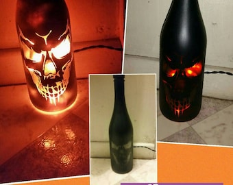 Fire skull upcycled bottle lamp