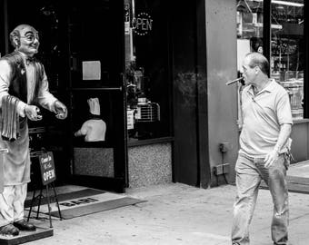 New York Street Photography Black and white Photograph Lower East Side Funny Little Italy Manhattan