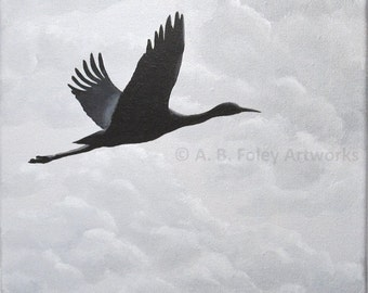 "Bird Silhouette Painting: Crane in Flight with Cloudy Sky, Original Black and Gray Nature Art; Bird Art Acrylic Painting 10"" X 10"""