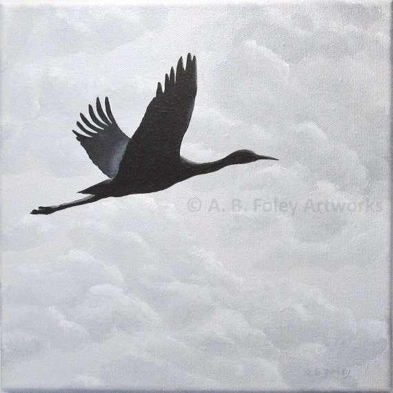 Bird Silhouette Painting: Crane in Flight with Cloudy Sky