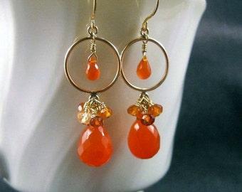 Tangerine Cluster Earrings- Carnelian, Hessonite Garnet, Gold Filled