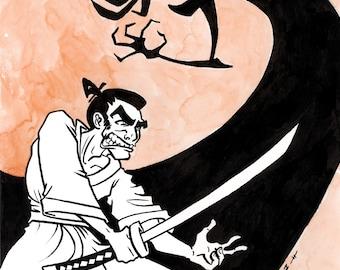 Samurai Jack, Original Ink and Watercolor Drawing