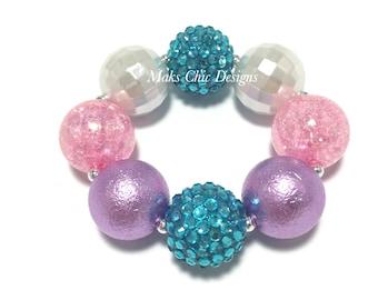 Toddler or Girls Pink, Turquoise and White Chunky Bracelet - Mermaid Chunky bracelet - Princess Pink Bracelet - Girls Beach Bracelet