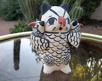 Cochiti Pueblo Pottery Owl With Owlets Mapuwana Native American Hand Crafted Fine Art Ceramics
