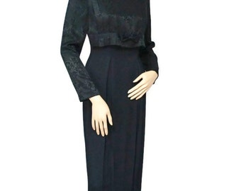 Wiggle Dress Vintage Black 1980's Dress Cocktail Party Brocade Midi Little Black Brioche Size 3 / 4