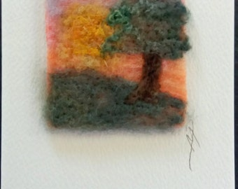 Sunset textile greeting card, felt and stitch greeting card, textile art card, blank inside greeting card, any occasion card