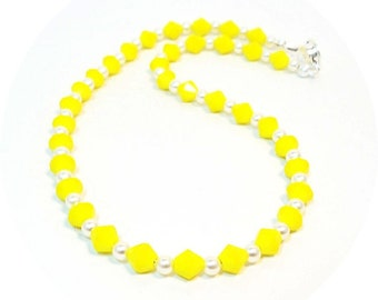 Girls Yellow Necklace, Flower Girl Necklace, Kids Jewelry, Yellow Necklace, Girls Jewelry, Flower Girl Jewelry,  Toddler Necklace,