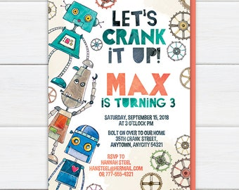 Retro Robots Birthday Party Invitation, Let's Crank It Up Robot Party Boy Birthday Watercolor Style Printable Invite