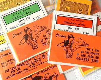 Vintage Monopoly Pieces. Monopoly Money. Vintage Games. Game Cards. Embellishment. Scrapbook Ephemera. Junk Journal. Ephemera Pack. Monopoly
