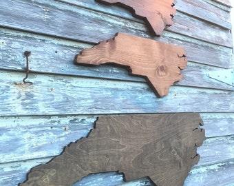 North Carolina NC Wooden State Cutout Wall Sign - Large 1ft x 2ft