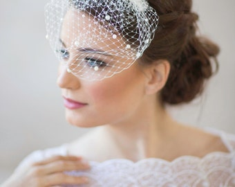 Mini birdcage veil with pearls, Petite Pearl  small bridal veil, wedding veil pearls, mini wedding veil, white ivory bridal veil,  Style 604