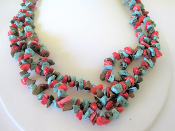 Turquoise Chip  Necklace, Coral Chips, 3 Strands Choker,  Vintage Boho Hippie Jewelry