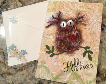 Hello! Handknit Owl Card with Embossed and Lined Envelope and Confetti