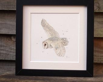 Barn Owl in flight - original ink & watercolour painting
