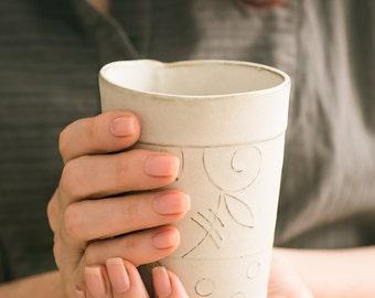 Ceramic tumbler, White Patterned tumbler, Modern ceramic tumbler, Ceramic white Tall Cup, Textured ceramic tumbler,Holidays gift
