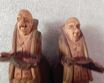 Pair of Hand Carved Book Ends - Great Folk Art