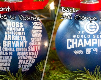 """2016 Cubs W Ornament 4"""", World Series Champions, MLB, Wrigley Field, Fly The W, Christmas Ornament, Chicago Cubs Roster"""