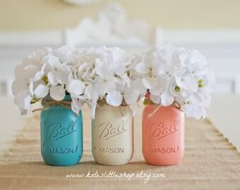 Painted Mason Jars. Vase. Vintage looking Painted Mason Jars. Set of 3 Pint Size mason jars. cream. peach. coral. teal. wedding decor. home.