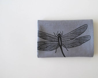 Linen Tea Towel - Dragonfly - Choose your fabric and ink color