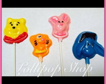 12 Winnie the Pooh chocolate lollipops (Birthday, Disney, Party, party favors, baby shower, winnie the pooh party favors)