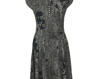 vintage 1990s NICOLE MILLER novelty print dress / black white / cotton / Egyptian hieroglyphics / women's vintage dress / size 4