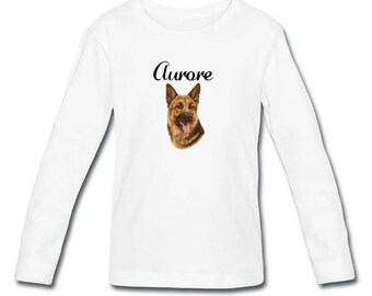 Girl long sleeve German Shepherd personalized with name t-shirt