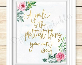 Printable quote wall art, A smile is the prettiest thing you can wear, dorm room art, black and white, what to wear, fashion quote