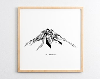 Mt. Rainier Washington Polygonal Drawing Art Print