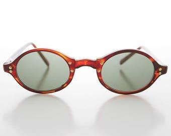 Oval Black or Tortoiseshell Vintage Sunglasses with Gold Studs - Harley