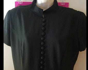 VTG 80s Lew Magram Black Cheongsam Dress Womens Size 14 Lots of Buttons V-Back