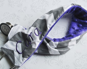 Embroidered Stethoscope Cover - Nurse, Doctor, Med Student, Nursing Student, Medical Assistant - Gift for Nurse - Gray Chevron with Purple