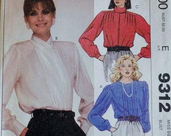 Vintage Sewing pattern, Mccalls 9312, 80s Blouse, Liz Claiborne Blouse, Shirt Sewing Pattern, Long Sleeve Blouse, 1980s Blouse, XS