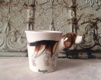Vintage Beagle Mug with rare Beagle Head Handle