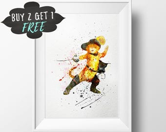 Shrek Puss In Boots Art Print Poster, Shrek Wall Art Nursery Decor Printable, Watercolor Instant Download, Last Minute Gift For Cat Lover